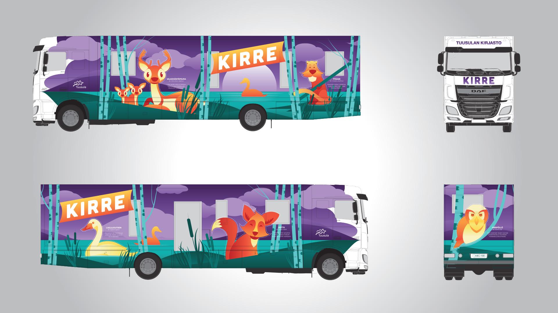 Kirjastoauto Kirre kuvitus